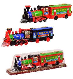 Поезд инерц. 836 (96шт/2) с вагоном, 2 цвета, под слюдой 40.5*8*11.5 см, р-р игрушки – 38.5*7*10 см