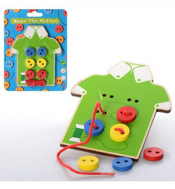 Деревянная игрушка Шнуровка MD 0905 (200шт) пуговицы 6шт, на листе, 14-18-1см