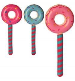 Игрушки надувные MSW 064 (180шт) пончик / леденец, 87см, микс цветов, в шарик, 14-14-2см