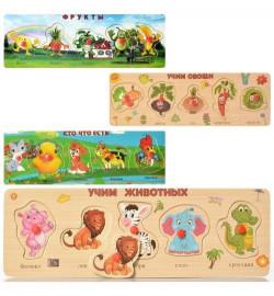 Деревянная игрушка Рамка-вкладыш MD 2022 (200шт) с ручкой, учебный, 4 вида, в пакете, 30-10-1,5с