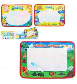 Коврик 66399-6-8 (120шт) для рисования водой 38-28см, 3 вида, в кульке, 29-48-1см