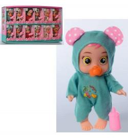 Кукла 99121 (108шт) CRB, 11см, соска, бутылочка, 12шт (6 видов), в дисплее, 48-25,5-6см