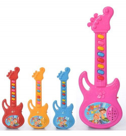 Гитара 121P (180шт) 24см, муз, микс цветов, на бат-ке, в шарик, 10-28-3см