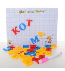 Досточка A-4403 (80шт) магнитная/для рисования, буквы, маркер, в кульке, 17-23-3см