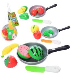Продукты 4013D (144шт) на липучке, 3шт, сковородка, нож, 3 вида(овощи/фрукты), в сетке, 20-12-6см