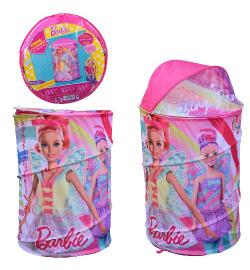 Корзина для игрушек D-3514 (24шт)  Barbie в сумке – 49*49*3 см, р-р игрушки – 43*43*60 см