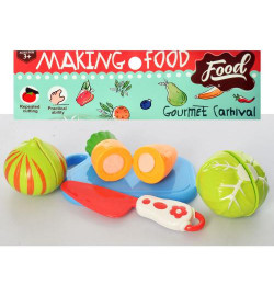 Продукты 740-5B (144шт) на липучке, овощи, 3шт, досточка, нож, в кульке, 19-19-5см