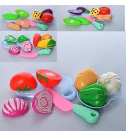 Продукты 8005-06-07-08 (96шт) на липучке, овощи, нож,досточка,4вида, в кульке, 21-23-5см