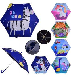 Зонт детский UM1053 (60шт/5)светоотраж. лента,  6 видов, р-р трости – 69 см, диаметр в раскрытом ви
