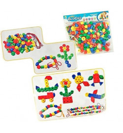 Логика-шнуровка HC-071-A (120шт)круги, треугольники, шестигранники, шнурки, в пакете 30*20*3см