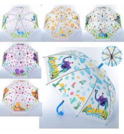 Зонтик MK 3877-2 (60шт) довж66см, тростина61см, диам81см, спиця48см, клейон, свист, 6вид (животные