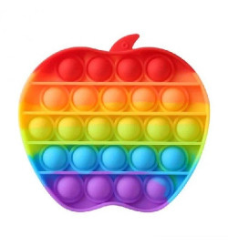 Антистресс сенсорная игрушка POP IT COLOR поп-ит яблоко радужный 12х12 см