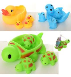 Животное для купания T68-24-29-30 (144шт) , 4шт, животное, от 5см, пищалка, 3вида, в сетке, 14-10-7с