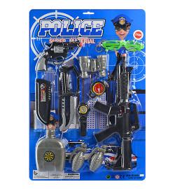 Набор полицейского 520A-12 (24шт) автомат,пистолет,бинокль,нож,фляга,компас,на листе,38-57-4см