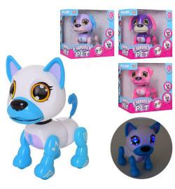 Собака W5599-7 (24шт) аккум,14,5см,сенс,звук,свет,ходит,подвиж.дет,USBзар,4в,в кор-ке,16-17-10см