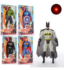 Супергерои  945ABHSZ-6 (144шт) AV, супергерой, 19см, свет, 5в,бат(таб), в кор-ке, 10,5-20-4,5с