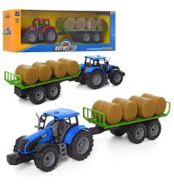Трактор AS-2014 (24шт) АвтоСвіт, 1:32, инер-я, с прицепом, 43см, 2цвета, в кор-ке, 48,5-16-11,5см