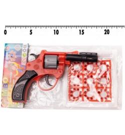 Револьвер 118 (144шт) под пистоны,в комплекте 9 пистонов на 8 выстрелов,р-р ирушки 13*10см, в паке