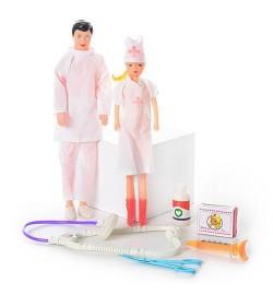 Семья Доктор 2208 (200шт) шприц, ножницы, в кульке, 27-15см кукла