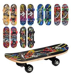 Скейт MS 0324-1 (12шт) 6 видів, ПВХ колеса-45мм, пласт.подвеска, розібратися з даною темою, 43-13-8см