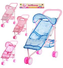 Коляска 836 A (24шт) для куклы, железная, прогулочная, трёхколёсная, корзинка, в кульке, 55-26-9см